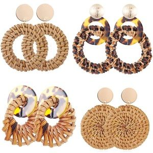 4 Sets Dangle Earrings Boho Woven Straw Wicker